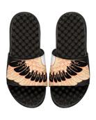Wing-Print Slide Sandal, Black
