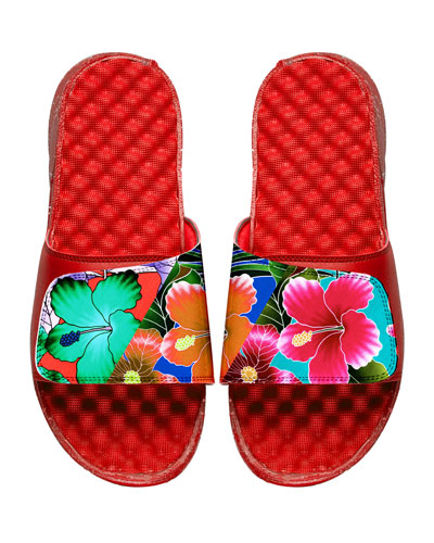 Tropical Floral Slide Sandal, Red