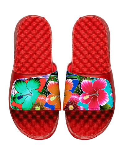 Men's Tropical Floral Slide Sandals, Red