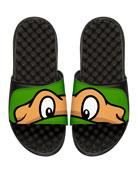 Teenage Mutant Ninja Turtles Michelangelo Slide Sandal, Black