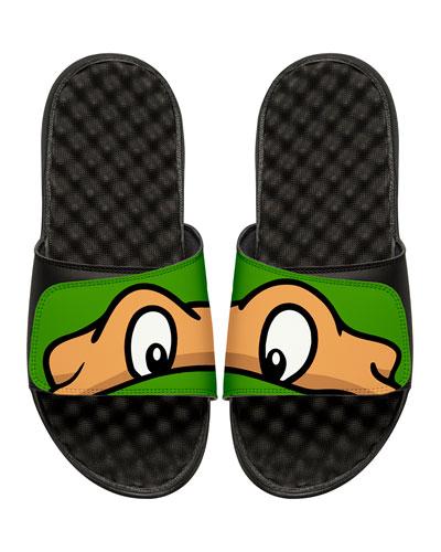 ISLIDE Men'S Teenage Mutant Ninja Turtles Michelangelo Slide Sandals, Black