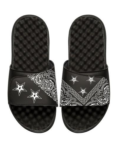 Bandana Slide Sandal, Black