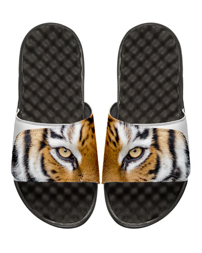 Tiger Eyes Slide Sandal, White/Black