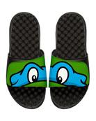 Teenage Mutant Ninja Turtles Leonardo Slide Sandal, Black