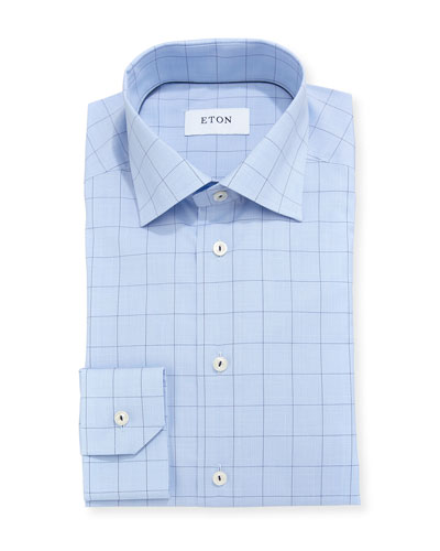 Windowpane Plaid Dress Shirt
