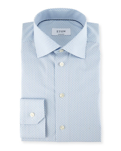 Striped Paisley-Print Dress Shirt