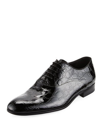 Vernice Embossed Patent Leather Oxford, Black