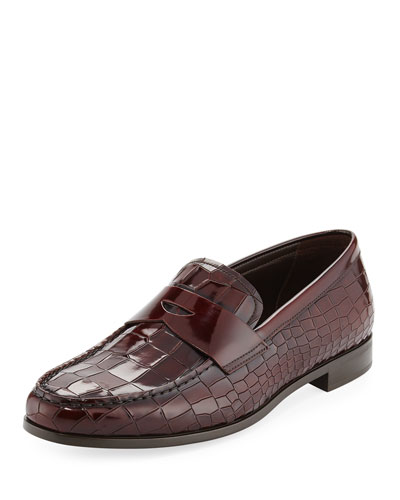 Croc-Embossed Patent Leather Penny Loafer, Wine