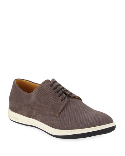 Perforated Suede Derby Shoe, Black