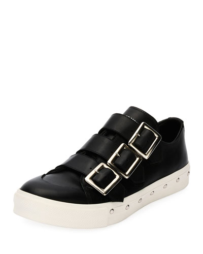 Triple-Buckle Leather Tennis Shoe, Black
