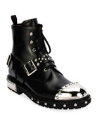 Studded Cap-Toe Leather Lace-Up Boot, Black