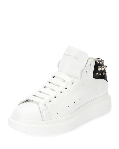 Men's Studded Leather High-Top Sneakers, White/Black