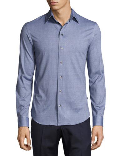 Mini-Gingham Cotton Shirt, Blue