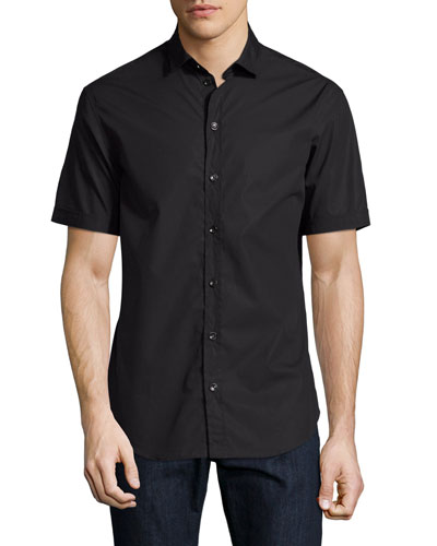 Solid Short-Sleeve Cotton Shirt, Black