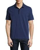 Contrast-Tip Polo Shirt, Blue