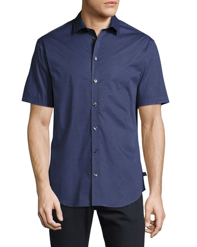 Printed Short-Sleeve Stretch-Cotton Shirt, Blue