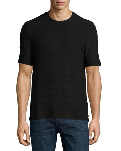 Textured-Stripe Crewneck T-Shirt, Black