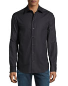 Tonal-Textured Long-Sleeve Shirt, Black