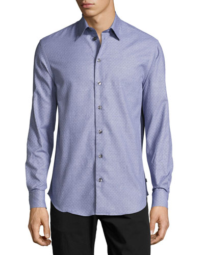 Tonal Mini-Check Dress Shirt