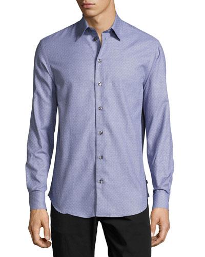 Tonal Mini-Check Dress Shirt
