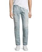 Dean Distressed Slim-Straight Jeans, Worn Tropics (Light Blue)
