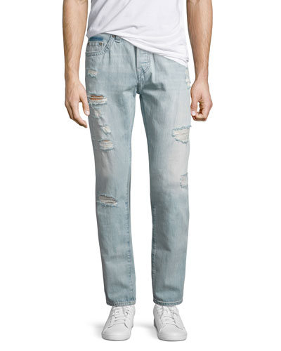 Dean Distressed Slim-Straight Jeans, Worn Tropics (Light Blue)
