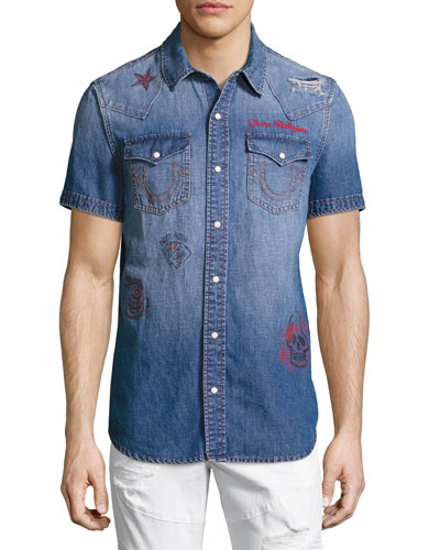 Printed Short-Sleeve Denim Western Shirt, Blue