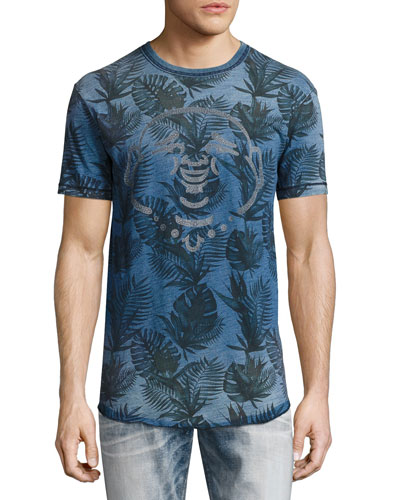 Buddha Tropical Palm-Print T-Shirt, Indigo