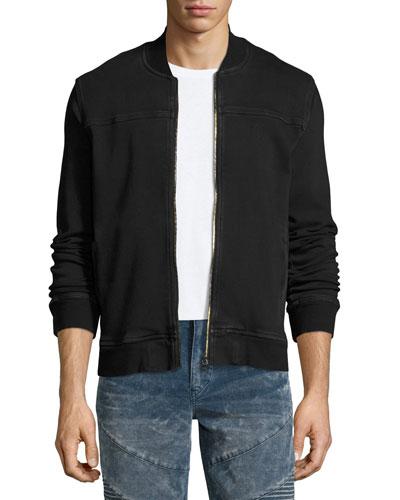 Varsity Over-Dyed French Terry Bomber Jacket, Black