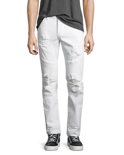 Rocco Distressed Moto Skinny Jeans, Worn Cruiser (White)