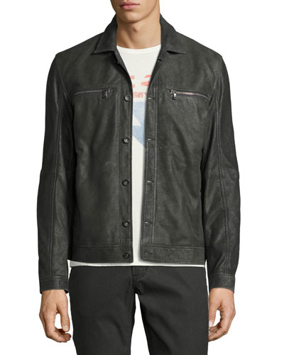 Leather Trucker Jacket, Dark Gray