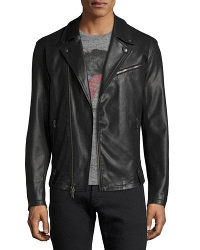 Coated Slim Moto Jacket, Black