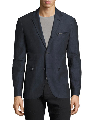 Zip-Pocket Cotton-Linen Blazer, Blue