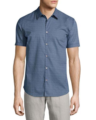 Micro-Print Short-Sleeve Sport Shirt, Blue