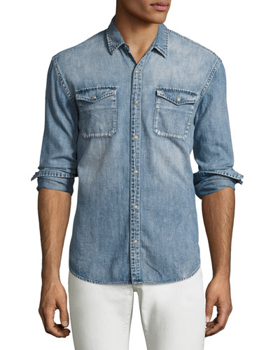 Denim Western Shirt, Blue