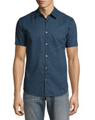 Micro-Print Short-Sleeve Sport Shirt, Blue
