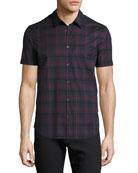 Plaid Short-Sleeve Sport Shirt, Navy/Red