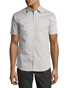Mini-Print Sport Shirt, Gray/White