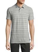 Mélange-Stripe Polo Shirt, Gray