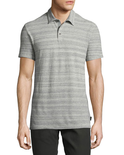 Mélange-Stripe Polo Shirt, Gray