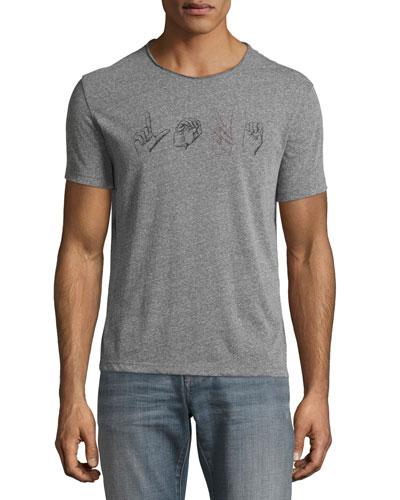 Love Sign Language Graphic T-Shirt, Gray
