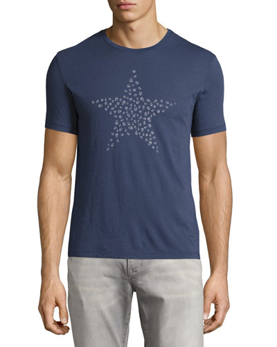 Skull Star Graphic T-Shirt, Blue