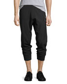 Drop-Crotch Jogger Pants w/ Military Patches