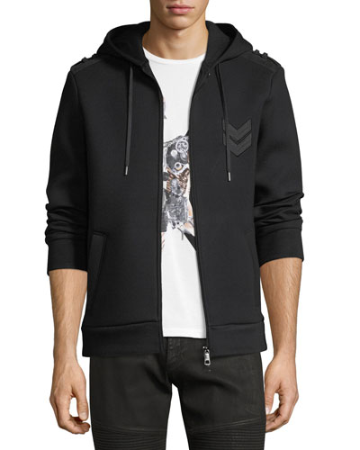 Military Arrow Zip-Front Sweatshirt Hoodie