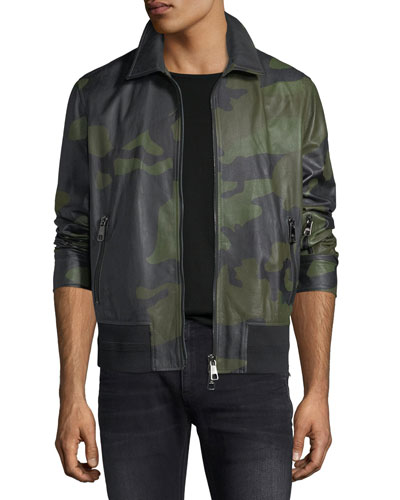 Camo Lamb Leather Bomber Jacket
