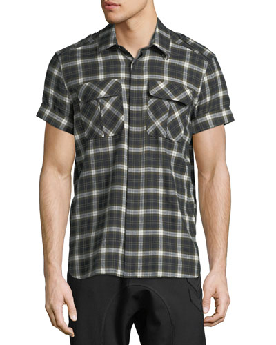 Short-Sleeve Plaid Flannel Button-Down Shirt