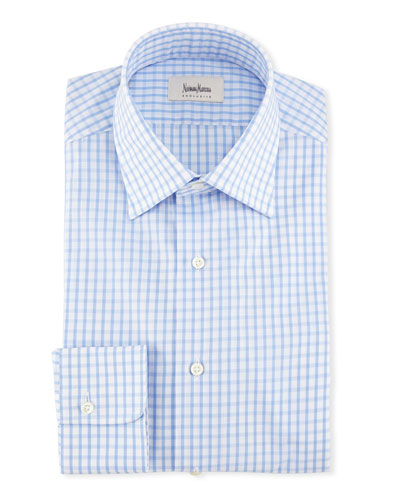 Large Check Dress Shirt, Blue/White