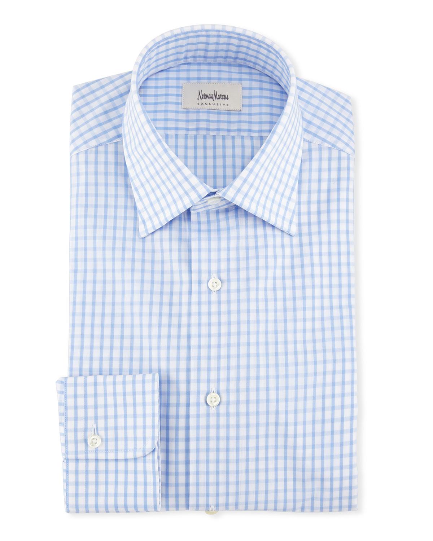 Large Check Dress Shirt, Blue/White