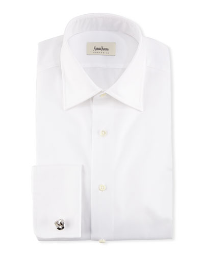 French-Cuff Solid Dress Shirt, White