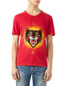 Cotton T-Shirt with Angry Cat Appliqu&#233